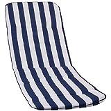 Stuhlkissen für Liege mit Längstreifen in blau weiß