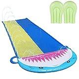 xiaohuangren Wasserbahn Shark Spray Wasserrutsche Aus PVC Mit 2 Wasserskiern, Regenbogen Slip Slide Aufblasbare Rase Wasserrutschbahn Für Kinder, Erwachsene, Gärten,Einseitiger Wasserstrahl480x140CM