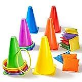 Yetech 3-in-1-Ringwurfset Outdoor-Spiele Combo Set Sport Party Puzzle Spiele Geburtstagsfeier Outdoor-Spiele Zubehör für Kinder Familie Erwachsene.
