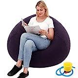 Outdoor aufblasbares faules Sofa, waschbar, Wohnzimmer, Liege, Schlafzimmer, Sitzsack, Stuhl, ultraweich, kein Füllstoff, Heimdekoration, Couch, beflockt, aufblasbares Sofa (blau)