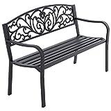 Nexos Gartenbank Parkbank Metall 127x50x84 cm 3-Sitzer Metall-Bank Sitzbank Gartenmöbel Ruhebank Außen-Bank Farbe: schwarz Modell wählbar (Aurora)