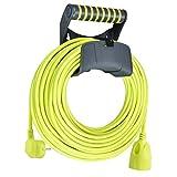 Masterplug Verlängerungskabel 25m Kabel, Stromkabel mit Schutzkontakt und Wandhalterung, Stromverteiler für Innen und Außen