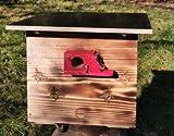 XXL Hummelkasten mit Wachsmottensperre, 2X Sichtfenster und Nistmaterial geflammt oder Imprägniert Wetterfest Bienenhaus Hummelhaus Nistkasten Hummelvilla Bienen Insektenhaus (geflammt)