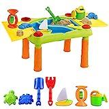 deAO Toller Sand und Wasserspieltisch für Kinder Mit Doppelfach und Deckel sowie umfagreichen Zubehör