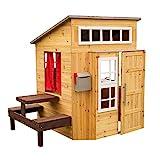 KidKraft 182 Gartenspielhaus Modernes Garten-Spielhaus aus Holz, Naturfarben, 180,09 x 124,21 x 158,12 cm