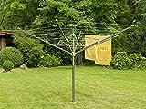 Juwel 30319 Wäschespinne Futura Elegant XXL Lift für 5-6 Waschmaschinenladungen, Wäscheschirm mit Schutzhülle und Bodenhülse