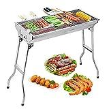 Uten Edelstahl BBQ Holzkohlegrill Smoker Barbecue klappbar tragbar für Outdoor Kochen Camping Wandern Picknick Rucksackreisen groß silber