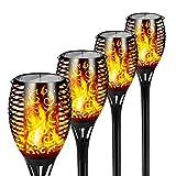 FLOWood Solar Gartenfackel realistischer Flammeneffekt 2 in 1 Solar Hängeleuchte für Garten Solar Gartenleuchte IP65 wetterfest ABS 4 Stück [Energieklasse A+]