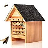 Skojig© Bienenhotel aus Naturholz - Nisthilfe & Unterschlupf für Wildbienen | ideal für Garten oder Balkon - wetterbeständiges, unbehandeltes Massiv-Holz : Insektenhotel Insektenhaus Bienenhaus