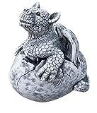 Steinfigur Drache Gulliver im Ei, Frost- und wetterfest, massiver Steinguss