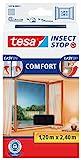 tesa Insect Stop COMFORT Fliegengitter für bodentiefe Fenster - Insektenschutz selbstklebend - Fliegen Netz ohne Bohren - anthrazit (durchsichtig), 120 cm x 240 cm