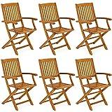 Casaria Gartenstuhl Boston Klappbar Wetterfest 6er Set Garten Terrassenstuhl Klappstuhl Gartensessel Holz Set Akazie