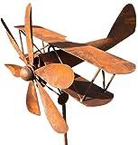 Crispe Metall Windrad 'Flugzeug' - massives Windspiel Windmühle für den Garten - wetterfest und standfest - mit bestem Kugellager - aus Vollmetall mit Edelrost-Patina – Höhe 167 cm