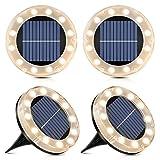 Solar Bodenleuchte Warmweiß, 12 LEDs Solarleuchten für Außen, 4 Stück - Led Solar Gartenleuchten, IP65 Wasserdicht Bodenleuchte Solarleuchten Garten, Außenleuchte für Auffahrt/Rasen/Gehweg/Patio