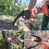 KKTECT Tragbare elektrische Astsäge 24V Tragbare kabellose Mini-Handkettensäge Schnurlose Kettensäge mit Protect Flip zum Schneiden und Abholzen von Obstbäumen (Rot)