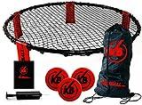 Kickball Pro | Komplettes Set für Wettbewerb | Premium Qualität | 2 bis 4 Spieler | 1 Mini Netz | 3 Bälle | 1 Luftpompe | 1 Hülle | Sommerspiel im Freien | Jugendlichen und Erwachsene | OriginalCup®