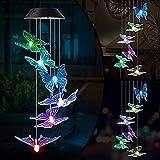 Solarleuchten Windspiele für Außen mit Farbwechsel Solar LED Schmetterling Windspiele Beleuchtung,Hängeleuchte Deko für Terrasse/Garten Party/Baum,Geburtstag Weihnachts Geschenk für Mama Mädchen