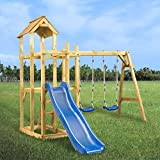 Festnight Spielturm mit Rutsche Schaukel Leiter 285 x 305 x 226,5 cm Spielhaus Kletterturm Klettergerüst Kinder Garten