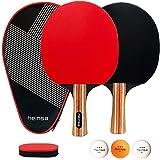 heinsa Tischtennis Set, Tischtennisschlaeger Set - 2 Tischtennisschläger Set mit Tischtennis-Bälle und Tasche (Tischtennisschläger Set)