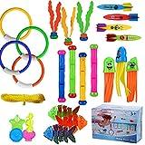ARANEE 28 Stücke Tauchspielzeug Tauchen Spielzeug Tauchring,Schwimmbad Spielzeug Unterwasser Tauch Pool Spielzeug zum Tauchen Lernen für Kinder Jungs Mädchen mit Tragetasche