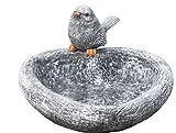 Stone and Style Vogeltränke Herz mit Steinfigur Vogel, Garten Deko, massiver Steinguss, frostfest bis -30°C