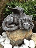 Für Garten und Haus Deko Drachen Figur Steinguss Fantasiefiguren Drachen Steinfiguren
