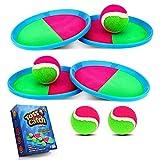 Weokeey Klettballspiel für Kinder, Klettball Set mit 4 Paddles und 4 Bällen Wasserdicht Klettspiel Wurf Spiel Outdoor Spielzeug Kinderspiele für Hinterhof, Garten, Innen und Außen