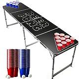 Offizieller Black Beer Pong Tisch Set   Full Beer Pong Pack   Inkl. 1 Beer Pong Tisch + 120 53cl Becher (60 Rot & 60 Blau) + 6 Ping-Pong-Bälle   Premium Qualität   Partyspiele   Trinkspiele