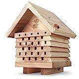 wildtier herz | Bienenhotel, schwere Ausführung aus verschraubtem Massiv-Holz, Nisthilfe für Wildbienen, wetterfest & unbehandelt, Bienenhaus Insektenhotel
