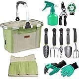 HappyPicnic Gartengeräte-Set mit 11 Stück Handwerkzeugen, Gartenwerkzeug-Tasche mit Hochleistungswerkzeugen, Gartenwerkzeug-Kit mit faltbarem Griff, Gartengeschenke für den Erntedankfest der Mutter