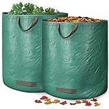 GardenGloss® Gartensack für Grünabfall mit doppeltem Boden (2 Stück) - 272L Gartenabfallsack selbstaufsstellend - Laubsack - Gartensack Pop Up - Gartenabfallbehälter - Grünschnittsack