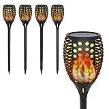 Garten Fackeln mit Realistischer Flammeneffekt,OxyLED 4 Stück 96 LED Solar Flammenlicht für Außen,IP65 Wasserdicht Solar Gartenleuchten für Garten,Patio,Partei,Weihnachten