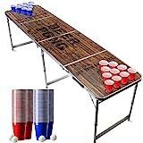 Offizieller Old School Beer Pong Tisch Set   Full Beer Pong Pack   Inkl. 1 Beer Pong Tisch + 120 53cl Becher (60 Rot & 60 Blau) + 6 Ping-Pong-Bälle   Premium Qualität   Partyspiele   Trinkspiele