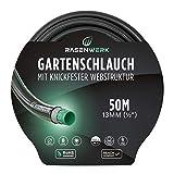 RASENWERK® - Gartenschlauch mit knickfester Webstruktur - Formstabil und flexibel - Gewebeschlauch - Wasserschlauch - Schlauch mit 24 bar Berstdruck - 1/2 Zoll 50m