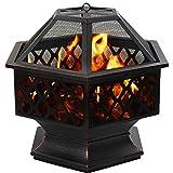 DAWOO Feuerschale für den Außenbereich Gartenöfen, sechseckiger Feuerkorb Garten feuerschale,feuerstelle (70x60x65cm)