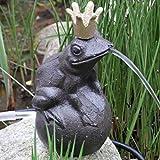 Gartenzaubereien Wasserspeier Froschkönig a. Kugel m. Pumpe - 9x9xH19cm - braun (707)