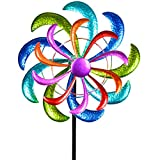 Formano Farbenfrohes Windrad 124x30 cm Gartenstecker Windspiel Gartendeko Blumenstecker
