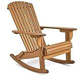 VonHaus Adirondack-Schaukelstuhl – Outdoor Gartenmöbel aus Acacia Hartholz mit geölter Oberfläche
