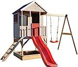 Wendi Toys M9 Spielhaus Garten Holz | Spielhaus Kinder Holz | Spielturm mit Rutsche und Baby Schaukel | Klettergerüst Outdoor Spielplatz für Garten | Kinderspielzeug ab 3 Jahre | Stelzenhaus Kinder