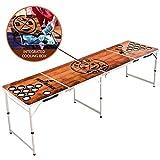 BeerBaller® Beer Pong Tisch Wood 'N' Ice mit Kühlfach & Becherhaltern - Klappbarer Beer Pong Tisch mit praktischem Bällehalter und 6 Beerpong Bällen für Sommer, Festivals, Parties & Turniere