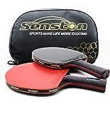 Senston Professional Tischtennisschläger 2-Spieler-Set mit Ping-Pong-Schlägertasche, Pro Tischtennis schläger perfekt für Beginnen, Fortgeschrittene, Familienaktivitäten und Sportclubs