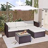 Diealles Gartenmöbel Set Rattan, loungemöbel Terrasse, Ecksofa, Couchgarnitur mit Sitz- und Rückenkissen, Lounge-Tisch mit Glasplatte, Braun
