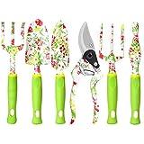 Gartengeräte-Set Garten-Handwerkzeuge, 6 PCS Hochleistungs-Aluminium-Gartenbedarf, Garten Geschenk-Set mit Blumendruck für Frauen, Garten-Handwerkzeuge im Freien mit Astschere Weeder Hand Rake Shovel