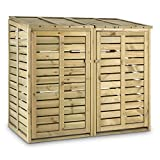 Waldbeck Ordnungshüter - Mülltonnenbox, Mülltonnenverkleidung, Abfalltonnenschrank, für 2 Tonnen á 240 Liter, Hebekette, Fronttüren, Klappdeckel, Kiefernholz, braun