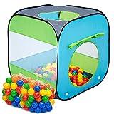 LittleTom Bällebad Zelt 200 Baby Bälle Spielzelt 70x70x72cm Popup Spielhaus Blau