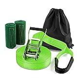 Yuanj Slackline Set, 15m Slackline Set für Kinder / Erwachsene / Anfänger, Slackline + Ratsche + Baumschutz + Transportbeutel, Perfekter Freizeitsport für Familie Outdoor-Spaß (Grün)
