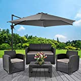 Cepewa Sitzgruppe 4 TLG. Polyrattan inkl. Auflagen für den Outdoorbereich anthrazit/Creme Gartenmöbel Loungemöbel