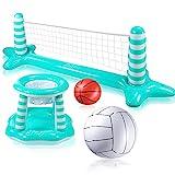 Joy joz Aufblasbarer Volleyball Pool Basketball Aufblasbare Pool Spielzeug Floating Volleyball Netz für Schwimmbad Basketball Reifen Wassersport Sommerspielzeug für Kinder und Erwachsene
