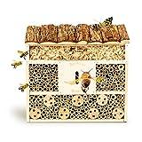bambuswald© Insektenhotel 29,5 x 10 x 28,5 cm | Bienenhotel Unterschlupf für Insekten - Insektenhaus Naturmaterialien. Gelebter Natur- & Artenschutzfür Zuhause -NistkastenHausNützlingshotel Schutz