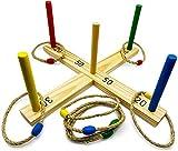 GICO Qualitäts Ringwurfspiel aus Holz für Kinder und Erwachsene mit 8 Ringen - Der Garten Spielspaß für die ganze Familie - 3264